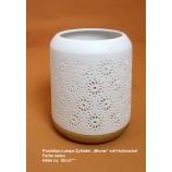 Porzellan-Lampe Zylinder Blume auf Holzsockel weiß H ca. 18cm