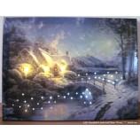 LED Bild Haus in winterlicher Landschaft ca. 40x30 cm