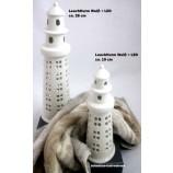 1 Deko-Leuchtturm weiß mit LED-Beleuchtung ca. 19 cm