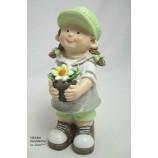 Deko-Figur Mädchen mit Blumentopf ca. 23 cm