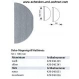 Magnetgriff für Flächenvorhänge Halbkreis 50x100 mm Weiß
