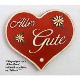 1 Magnetpin Herz Alles Gute, rot/weiß, aus Holz, ca. 7x8 cm