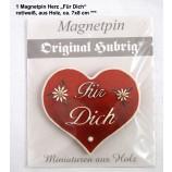 1 Magnetpin Herz Für Dich, rot/weiß, aus Holz, ca. 7x8 cm