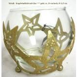 Metall-Kugelwindlicht mit Glas gold mit Sternenmotiv ca.10 cm hoch, Ø 11,5 cm