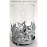 Metall - Windlicht mit Glas silber mit Sternenmotiv ca.13 cm hoch, Ø 8 cm