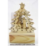 Mini-LED-Laserholz-Baum - Christi Geburt - für Batteriebetrieb 13 x 7 x 11 cm
