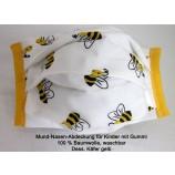 Mund-Nasen-Abdeckung für Kinder aus 100 % Baumwolle Dess. Käfer gelb