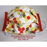 Mund-Nasen-Abdeckung für Kinder aus 100 % Baumwolle Dess. Käfer rot