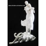 Liebespaar auf Herz, weiß-silber ca. 40 cm