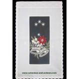 """Weihnachtlicher Panneaux  """"Glocke"""" ecru`-rot, lurex gold ca. 46 x 28 cm (H/B)"""