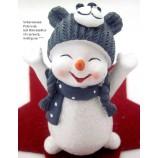 Lustiger kleiner Schneemann mit Bärenmütze weiß-grau,ca.10x6x5cm