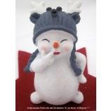 Lustiger kleiner Schneemann mit Elchmütze weiß-grau,ca.10x6x5cm