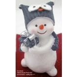 Lustiger kleiner Schneemann mit Eulenmütze weiß-grau,ca.10x6x5cm