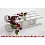 Deko-Holzschlitten weiß lackiert 20 x 8 x 5,5 cm