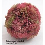 1 Sedumkugel künstlich, rosa, ca. 7 cm