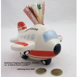 Keramik-Spardose Flugzeug - Reisekasse ca. 15,0 x 9,5 x 15,0 (L/H/B)