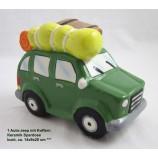 1 Keramik Spardose Auto-Jeep mit Koffern, bunt, ca. 14x9x20 cm