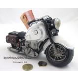 """Poly - Spardose Motorrad """"Old Style"""" weiß ca. 20,0x11,0x10,0cm (L/H/B)"""
