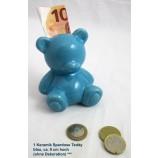 1 Keramik Spardose Teddy blau, ca. 9cm