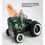 Spardose Traktor Nostalgie, grün/schwarz, ca. 12 cm hoch
