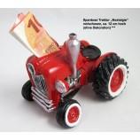 Spardose Traktor Nostalgie, rot/schwarz, ca. 12 cm hoch