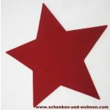 Filz Untersetzer Stern rot, ca. 30 cm (Länge zwischen zwei Sternspitzen)