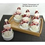 Teelichter Schneemann rot 6er Packung ca. 6,5 cm