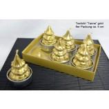 Teelichter Tanne gold 6er Packung ca. 5 cm