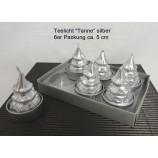 Teelichter Tanne silber 6er Packung ca. 5 cm