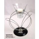 Teelichthalter silber/schwarz, ca. 21 cm