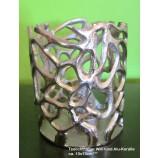 Teelichthalter Wilie rund Alu - Koralle ca. 10 x 13 cm