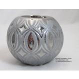 Teelichthalter Ovado silber glänzend/grau matt ca. 10,0x10,0x8,0cm(T/B/H)