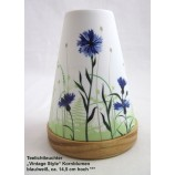 Teelichtleuchter Vintage Style Kornblumen blau/weiß ca. 14,5 cm hoch
