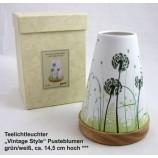 Teelichtleuchter Vintage Style Pusteblumen grün/weiß ca. 14,5 cm hoch
