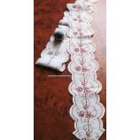 Tischband - Plauener Spitze - rotes Weinlaub, ca. 150 x 11 cm