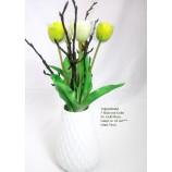 Tulpenstrauß 5 Blüten, künstlich gelb-weiß  ca. 42cm , ohne Vase