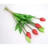 Tulpenstrauß 7 Blüten, künstlich rosa-weiss  ca. 42cm