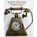 Tischuhr Metall nostalgisches Telefon Messing 28x30x13 cm (HxBxT) mit Uhrwerk