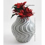 """Keramik-Vase """"Waves"""" grau glasiert, ca.15 cm hoch"""