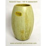 Vase Keramik 18,5 cm grün Echt Handarbeit