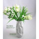 """Keramik-Vase """"Waves"""" weiß glasiert, ca. 21 cm hoch"""