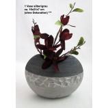 1 Keramik-Vase oval silber/grau ca. 16x21x7 cm (H/B/T)
