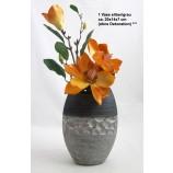 1 Keramik-Vase oval silber/grau ca. 20x14x7 cm (H/B/T)
