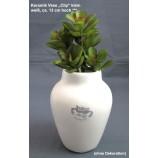 Keramik-Vase, Clip, weiß mit Reaktionsglasur, ca.13 cm hoch