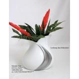 Keramik-Vase Cut Gardo silber-weiß matt, ca. 12,0 x 17,0 x 18,0 cm