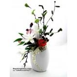 Kunst-Blumenarrangement Sternmagnolie in Keramik-Vase ca. 12x8x40cm (B/T/H)