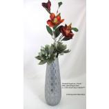 Keramik Kegelvase Ovado silber glänzend / grau matt ca. 12,0x12,0x35,0cm (T/B/H)