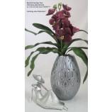 Keramik bauchige Vase silber/grau glänzend/matt ca. 16,5x16,5x25,5cm (T/B/H)