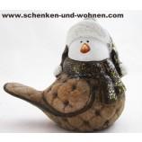 Keramik - Vogel braun/gold 13,7 x 10 x 16,3 cm