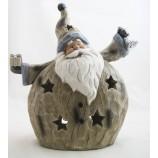 XXL Windlicht Weihnachtsmann  braun modern 42,5 x 16 x 37 cm